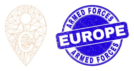 Web mesh euro map marker pictogram and Armed Forces Europe watermark. Blue vector round scratched watermark with Armed Forces Europe caption.