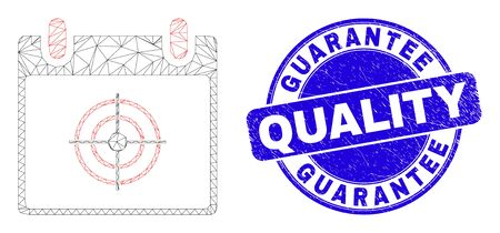 Web mesh target calendar page pictogram and Guarantee Quality seal stamp. Blue vector rounded distress seal stamp with Guarantee Quality title.