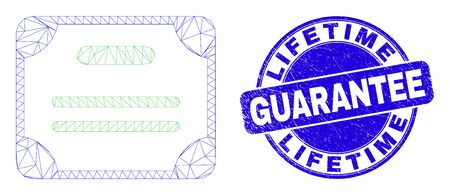 Web mesh certificate diploma icon and Lifetime Guarantee seal. Blue vector round distress seal with Lifetime Guarantee title. Abstract frame mesh polygonal model created from certificate diploma icon.