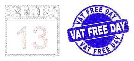 Web mesh 13 friday calendar page pictogram and Vat Free Day stamp. Blue vector round textured stamp with Vat Free Day phrase. Vectores