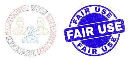 Web carcass social pie chart pictogram and Fair Use stamp. Blue vector round distress seal stamp with Fair Use message. Abstract frame mesh polygonal model created from social pie chart pictogram.