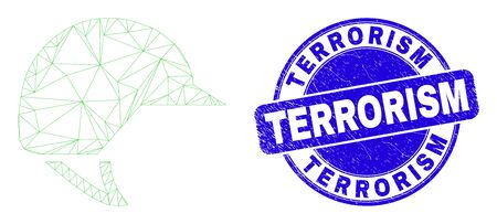 Web mesh motorcycle helmet pictogram and Terrorism seal. Blue vector round distress seal stamp with Terrorism phrase. Abstract carcass mesh polygonal model created from motorcycle helmet pictogram.