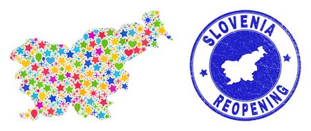Celebrating Slovenia map mosaic and reopening corroded stamp seal. Vector mosaic Slovenia map is constructed of random stars, hearts, balloons.