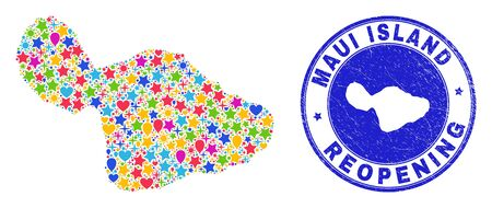 Celebrating Maui Island map mosaic and reopening scratched stamp. Vector mosaic Maui Island map is formed of randomized stars, hearts, balloons. Illustration