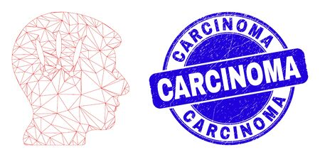 Web carcass headache pictogram and Carcinoma seal stamp. Blue vector rounded grunge seal with Carcinoma phrase. Abstract frame mesh polygonal model created from headache pictogram.