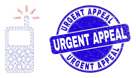 Web mesh cell phone icon and Urgent Appeal seal stamp. Blue vector round distress seal stamp with Urgent Appeal title. Abstract frame mesh polygonal model created from cell phone icon.