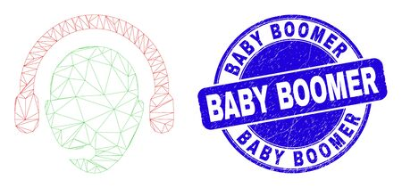 Web carcass operator head icon and Baby Boomer seal stamp. Blue vector round grunge seal with Baby Boomer text. Abstract frame mesh polygonal model created from operator head icon. Illusztráció