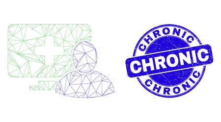 Web mesh computer patient pictogram and Chronic seal stamp. Blue vector round textured seal stamp with Chronic caption. Abstract carcass mesh polygonal model created from computer patient icon.
