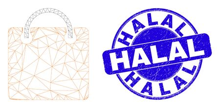 Web mesh shopping bag pictogram and Halal seal. Blue vector rounded scratched seal with Halal text. Abstract frame mesh polygonal model created from shopping bag pictogram.