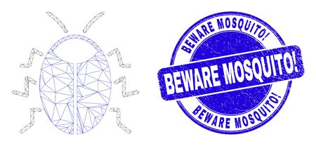 Web carcass bug pictogram and Beware Mosquito! seal stamp. Blue vector round scratched seal with Beware Mosquito! text. Abstract carcass mesh polygonal model created from bug icon.