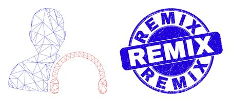 Web mesh user headphones icon and Remix seal stamp. Blue vector round distress seal stamp with Remix title. Abstract frame mesh polygonal model created from user headphones icon.