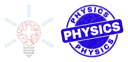 Web mesh medical lamp light pictogram and Physics stamp. Blue vector rounded scratched seal stamp with Physics title. Abstract carcass mesh polygonal model created from medical lamp light pictogram.