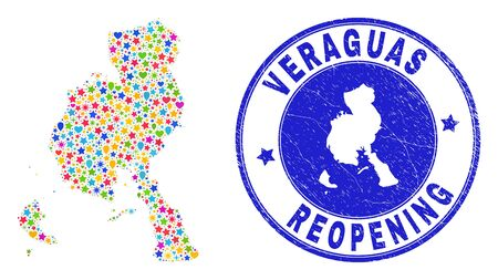 Celebrating Veraguas Province map mosaic and reopening scratched stamp seal. Vector mosaic Veraguas Province map is constructed with random stars, hearts, balloons.
