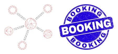 Web carcass connections icon and Booking seal stamp. Blue vector rounded grunge seal stamp with Booking text. Abstract carcass mesh polygonal model created from connections pictogram.