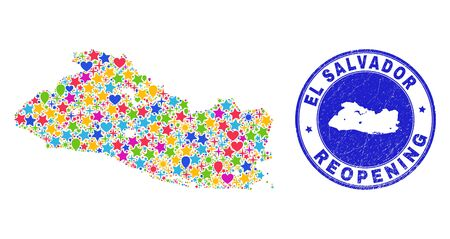 Celebrating El Salvador map mosaic and reopening rubber stamp seal. Vector collage El Salvador map is done of randomized stars, hearts, balloons. Rounded awry blue seal with unclean rubber texture.