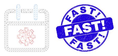 Web mesh calendar time options pictogram and Fast! seal stamp. Blue vector rounded scratched seal stamp with Fast! title.