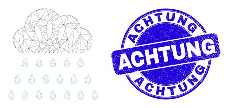 Web mesh strong rain clouds pictogram and Achtung seal stamp. Blue vector rounded textured stamp with Achtung phrase. Abstract frame mesh polygonal model created from strong rain clouds pictogram. 일러스트