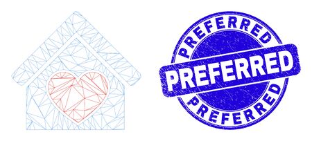 Web carcass love house pictogram and Preferred seal stamp. Blue vector rounded distress seal stamp with Preferred caption. Abstract frame mesh polygonal model created from love house pictogram.