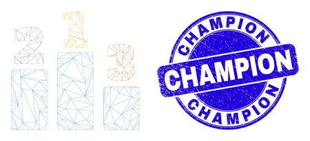 Web mesh prize places icon and Champion seal stamp. Blue vector round distress seal stamp with Champion phrase. Abstract carcass mesh polygonal model created from prize places icon.