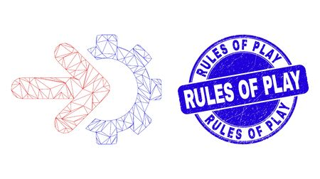 Web mesh integration gear icon and Rules of Play stamp. Blue vector rounded scratched seal stamp with Rules of Play phrase.