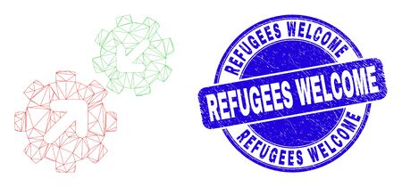 Web carcass integration gears pictogram and Refugees Welcome watermark. Blue vector round scratched watermark with Refugees Welcome text.