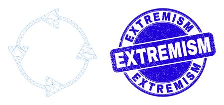Web mesh CCW circulation arrows pictogram and Extremism seal stamp. Blue vector rounded distress seal with Extremism text. Ilustración de vector