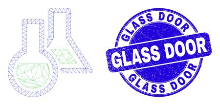 Web carcass chemical glassware icon and Glass Door watermark. Blue vector round scratched watermark with Glass Door phrase.