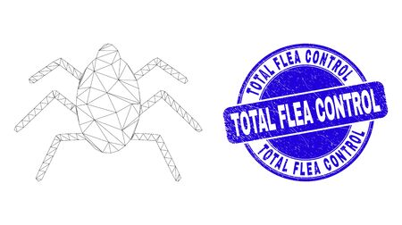 Web mesh mire tick pictogram and Total Flea Control watermark. Blue vector round distress watermark with Total Flea Control phrase. Vectores