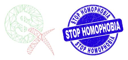 Web mesh forbidden dollar icon and Stop Homophobia watermark. Blue vector round distress watermark with Stop Homophobia phrase. Vectores