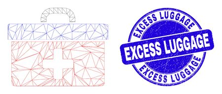 Web carcass medical case icon and Excess Luggage seal. Blue vector round scratched seal stamp with Excess Luggage text. Abstract carcass mesh polygonal model created from medical case icon. Illustration