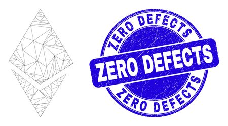 Web carcass crystal pictogram and Zero Defects seal stamp. Blue vector rounded textured seal with Zero Defects message. Abstract frame mesh polygonal model created from crystal pictogram.
