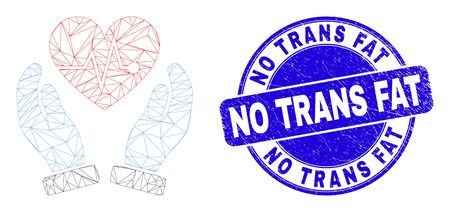 Web mesh heart surgery care hands icon and No Trans Fat seal stamp. Blue vector round grunge seal stamp with No Trans Fat title.