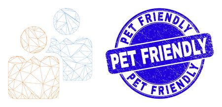 Web carcass users icon and Pet Friendly seal stamp. Blue vector round grunge seal stamp with Pet Friendly title. Abstract carcass mesh polygonal model created from users icon. Illusztráció