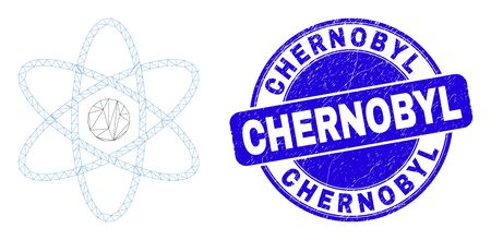 Web mesh atom icon and Chernobyl watermark. Blue vector round distress watermark with Chernobyl text. Abstract carcass mesh polygonal model created from atom icon.