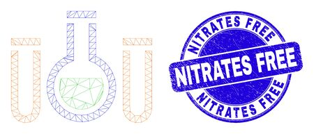 Web carcass chemical tubes icon and Nitrates Free seal. Blue vector round textured seal with Nitrates Free caption. Abstract carcass mesh polygonal model created from chemical tubes pictogram.