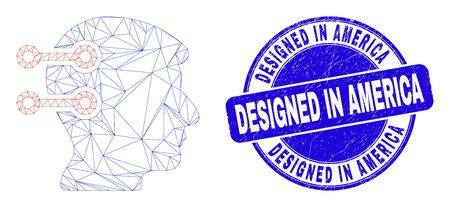 Web mesh brain interface links icon and Designed in America seal stamp. Blue vector round scratched seal stamp with Designed in America phrase.