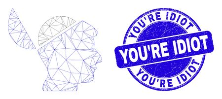 Web carcass open mind icon and You'Re Idiot seal stamp. Blue vector rounded distress seal stamp with You'Re Idiot phrase. Abstract carcass mesh polygonal model created from open mind icon.