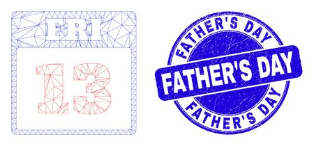 Web carcass 13th Friday calendar page pictogram and Father'S Day seal stamp. Blue vector round textured seal stamp with Father'S Day title. Vectores