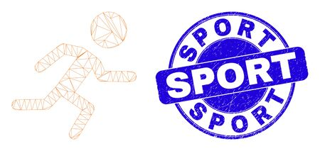 Web mesh running boy icon and Sport seal. Blue vector rounded scratched seal with Sport caption. Abstract carcass mesh polygonal model created from running boy icon. Illusztráció