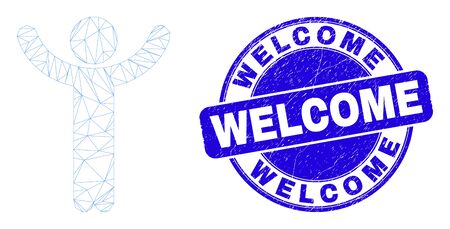 Web mesh hands up person pictogram and Welcome seal stamp. Blue vector rounded grunge seal stamp with Welcome phrase. Abstract carcass mesh polygonal model created from hands up person pictogram.