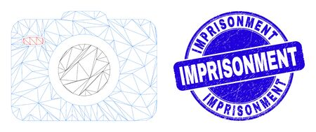 Web mesh photo camera pictogram and Imprisonment watermark. Blue vector rounded distress watermark with Imprisonment phrase. Abstract frame mesh polygonal model created from photo camera icon.