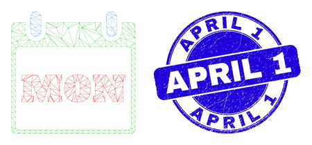 Web carcass monday calendar page icon and April 1 stamp. Blue vector rounded grunge seal with April 1 phrase. Abstract carcass mesh polygonal model created from monday calendar page icon. Vectores