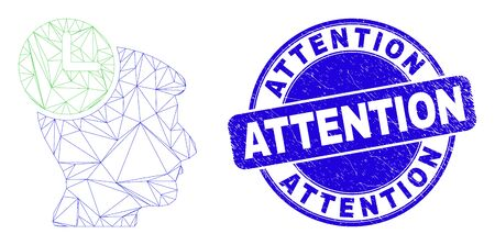 Web mesh head clock icon and Attention seal stamp. Blue vector round scratched seal with Attention caption. Abstract carcass mesh polygonal model created from head clock icon. Illusztráció