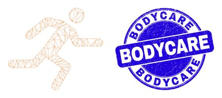 Web mesh running man pictogram and Bodycare seal. Blue vector round distress seal with Bodycare phrase. Abstract carcass mesh polygonal model created from running man pictogram.