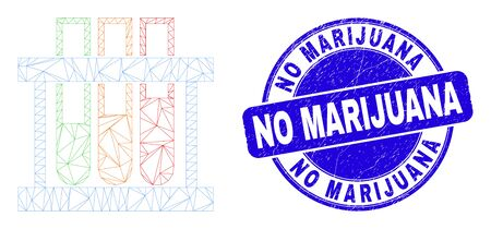 Web mesh chemical test tubes icon and No Marijuana watermark. Blue vector round distress seal with No Marijuana caption.