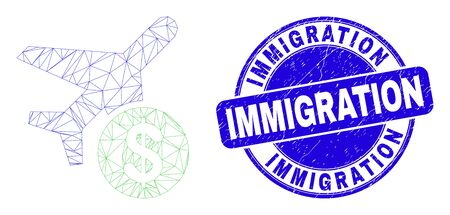 Web mesh airplane price pictogram and Immigration seal. Blue vector rounded distress seal stamp with Immigration phrase. Abstract carcass mesh polygonal model created from airplane price pictogram.