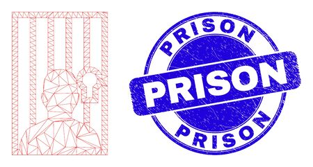Web mesh jailed person pictogram and Prison stamp. Blue vector rounded grunge stamp with Prison caption. Abstract carcass mesh polygonal model created from jailed person pictogram. Illusztráció