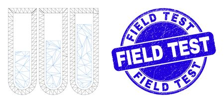 Web mesh test-tubes pictogram and Field Test seal stamp. Blue vector round textured stamp with Field Test phrase. Abstract frame mesh polygonal model created from test-tubes icon. Ilustracja