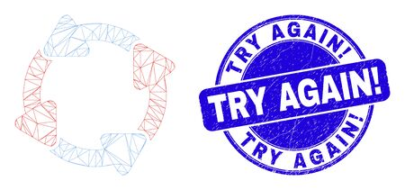 Web mesh circulation arrows icon and Try Again! seal stamp. Blue vector rounded distress stamp with Try Again! phrase. Abstract frame mesh polygonal model created from circulation arrows icon. Çizim