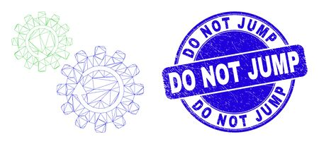 Web mesh gears rotation icon and Do Not Jump seal stamp. Blue vector round distress seal stamp with Do Not Jump title. Abstract frame mesh polygonal model created from gears rotation icon.